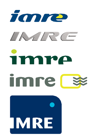 IMRE logo variations to show work in progress